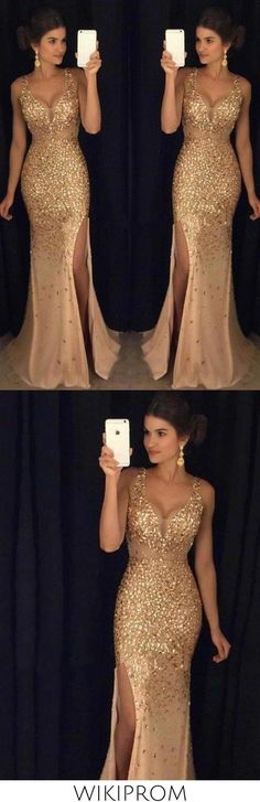 2019 Sheath/Column Sweep/Brush V-Neck Sequin Train Sleeveless Jersey Evening Dresses, This dress could be custom made, there are no extra cost to do custom size and color