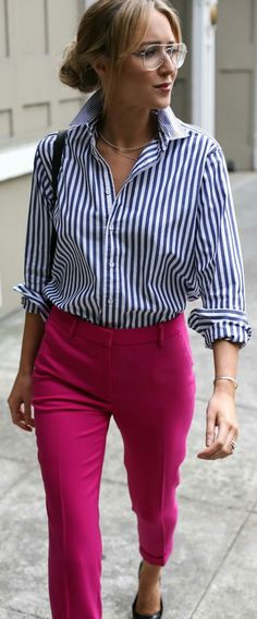 Striped Boyfriend Shirt + Fuchsia Pant | ziphttps://outfitshunter.com/article/60-fall-street-style-trends-to-copy-right-now.