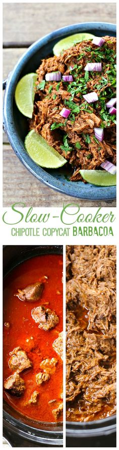 Slow-Cooker Copycat Chipotle Barbacoa Recipe from Foodie With Family for Crock Pot Recipes, Recetas Crock Pot, Crock Pot Cooking, Slow Cooker Recipes, Beef Recipes, Mexican Food Recipes, Cooking Recipes, Healthy Recipes, Locarb Recipes