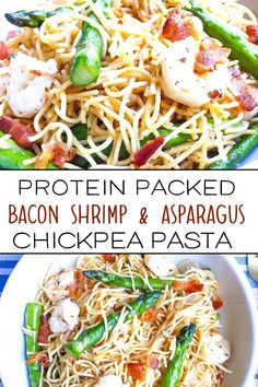 This bacon shrimp pasta is the perfect easy weeknight meal. It's simple, healthy and packed with protein. Thanks to the use of chick pea pasta, it's also healthier and lower in carbs! Fun Easy Recipes, Good Healthy Recipes, Tasty Meals, Diet Meals, Shrimp And Asparagus, Shrimp Pasta, Chick Pea Pasta Recipe, Seafood Recipes, Pasta Recipes