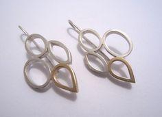 Elfi Spiewack - Cluster Earrings - sterling silver, 9 ct gold