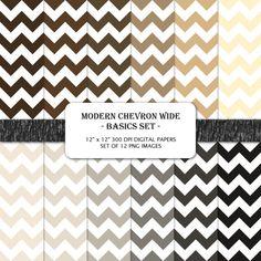 Modern Chevron Wide Basics 12 x 12 Digital Paper Set by PixelHoot, $4.00