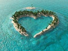 Tropical island in the shape of a love heart/ Heart Island aerial view Heart In Nature, Heart Art, Terre Nature, Sky Sunset, In Natura, Love Island, Nature Pictures, Aerial View, Amazing Nature