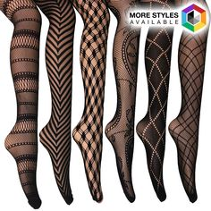 6 Pairs: Frenchic Elegant Fishnet Lace Tights - Assorted Styles