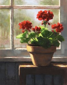 Daily Paintworks - Original Fine Art © Linda Jacobus - DPW Fine Art Friendly Auctions – Geraniums by the Window by Linda Jacobus - Art Floral, Watercolor Flowers, Watercolor Paintings, Red Geraniums, Still Life Flowers, Guache, Pictures To Paint, Fine Art Gallery, Beautiful Paintings