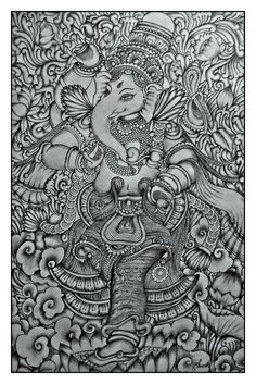 kerala mural Ganesha pencil drawing by Shamilart