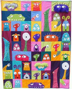 Scary Squares quilt pattern from Shiny Happy World. Cute idea for Monster Quilt. Quilt Baby, Boy Quilts, Twin Quilt, Cat Quilt, Doll Quilt, Quilting Projects, Quilting Designs, Sewing Projects, Applique Quilts
