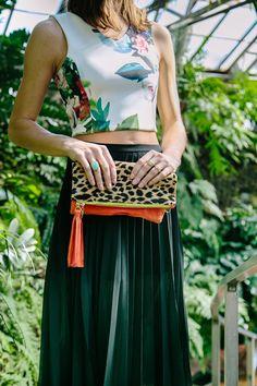 Floral Crop Top, Midi Skirt, Nude Pumps and a Leopard Clutch| @jcrew @asos @gaiaforwomen | www.thefoxandshe.com