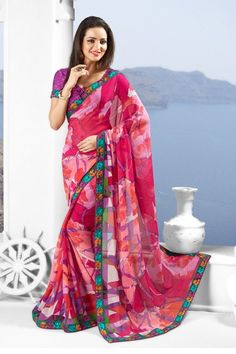 Heavy #Georgette Printed #Saree The color of the original product may slightly vary due to photography, or screen color settings, also note that styling is done for representation purpose only. Available in 43% Discount  @aimdeals