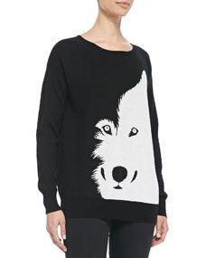 Christopher Fischer Wool Intarsia-Knit Wolf Sweater