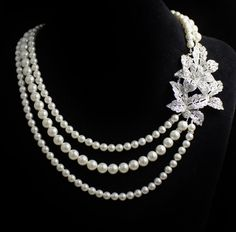 Pearl Bridal Necklace, Vintage Style Crystal Bridal necklace,  Wedding Jewelry, Wedding Necklace, Bride Jewlery LEXI on Etsy, $89.00