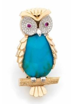 A TURQUOISE, RUBY, DIAMOND AND GOLD OWL BROOCH - Artcurial