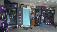 Stephen and Katie Ward's finished garage features a locker-style storage unit. It's the perfect solution to corral an abundance of items that previously sat on the garage floor.