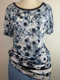 #GerryWeber #Edition #t-shirt korte mouw wit blauw kimonomouw