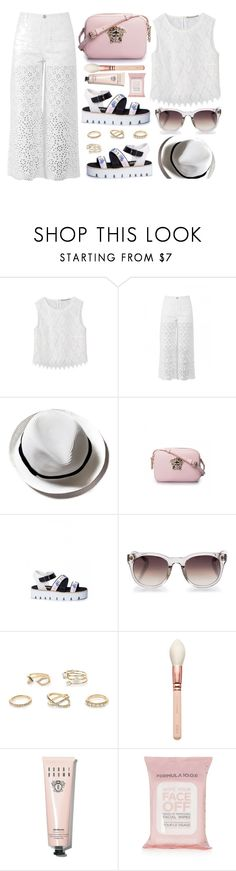 """Small Island"" by firstboutique ❤ liked on Polyvore featuring Ermanno Scervino, Versace, Linda Farrow, River Island, Bobbi Brown Cosmetics, Topshop, white and rose"