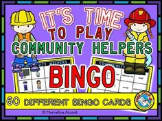 #COMMUNITY #HELPERS #BINGO!  Who doesn't love to play Bingo? This cute set (of 60 bingo cards ) is ideal to practice and revise community helpers vocabulary: teacher, artist, police officer, nurse, construction worker, carrier, farmer, veterinarian, chef, firefighter, doctor and hair stylist.