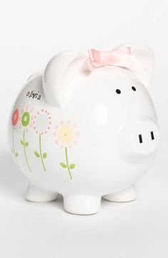 Every little girl needs a piggy bank! Someday Inc. Personalized Piggy Bank available at #Nordstrom #ohbaby