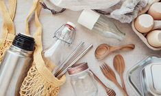 Going Plastic-Free: Ideas That Go Beyond Reusable Bags - Dr . Natural Sunscreen, Dr Axe, Plastic Waste, Food Waste, Reusable Bags, Jojoba Oil, Sustainable Living, Plastic Bottles, Deodorant