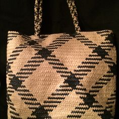 Straw Tote Bag. GUC Navy Lining inGood Shape w/Magnetic Snap @ Top of Bag. Brand is Swee Lo Bags Totes