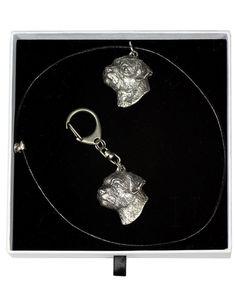 Border Terrier, Dog Keyring and Necklace in Casket, Elegance Set, Limited Edition, ArtDog Border Terrier, Terrier Dogs, Casket, Jewelry Sets, Pendant Necklace, Drop Earrings, Chain, Elegant, Silver