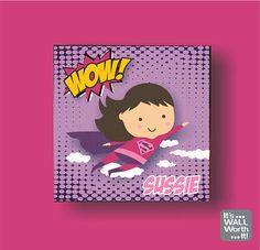 This Personalized Superhero Canvas Picture will look great in any girls room. Simply way to add color to the rooms décor.  Size: 6 x 6 or 10 x 10