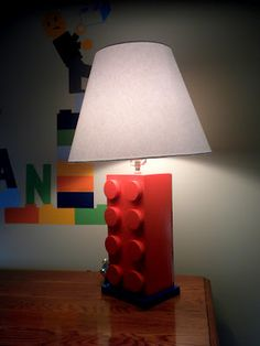Lego Lamp - Repurpose old lamp with paint and some creativity.