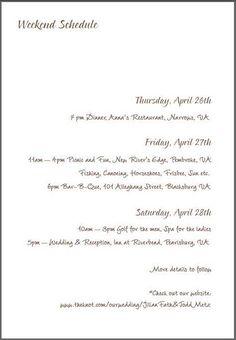 RSVP wording for multiple event wedding/schedule