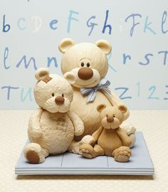 How to make these Adorable Teddy Bears in Sugar Paste - Tutorial.  Use google to translate it.