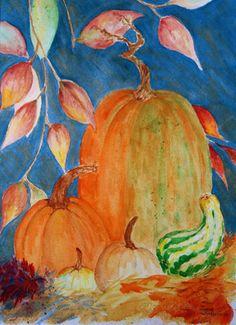 Beautiful fall watercolor painting!
