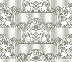 Traditional seamless wallpaper with elephant and peacock