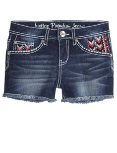 Embroidered Heavy Stitch Denim Shorts | Justice