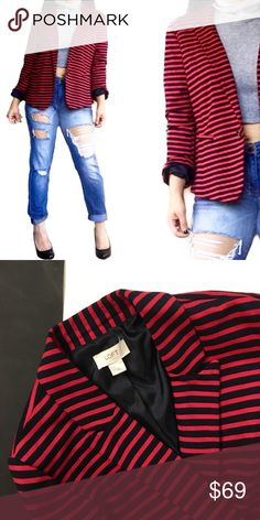 Loft nautical style striped navy and red blazer Such a cool blazer for work or play from LOFT. Color is dark navy blue with red stripes. Brand new condition! Size 12 can fit M-L fine LOFT Jackets & Coats Blazers