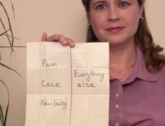 """The Office Season 8, Ep 1- """"The List."""" Robert California divides the office into """"winners"""" and """"losers"""" in his personal notebook. Pam is on the """"losers"""" list. This is Jim's winners/ losers list. :) <3"""