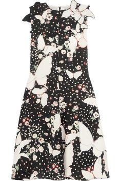 Valentino   Appliquéd printed silk-crepe midi dress   NET-A-PORTER.COM