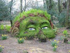 Garden art sculpture. It's like a giant Chia pet!