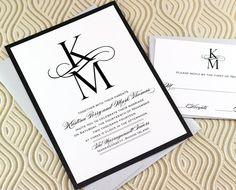 Navy Monogram Wedding Invitation DEPOSIT Pinterest Navy colour