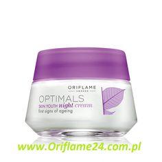 Optimals Skin Youth Night Cream - Krem na noc Optimals Skin Youth Oriflame. Kremowa konsystencja przywraca skórze jędrność oraz odmładza ją, podczas gdy Ty śpisz. Rano skóra jest wypoczęta i świeża, a zmarszczki i rozszerzone pory - wygładzone. Zawiera mikrocząsteczki wzmacniające strukturę skóry i opatentowaną technologię antyoksydacyjną Lingon 50:50™. 50 ml