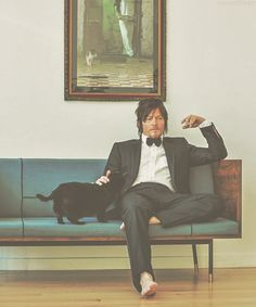 Norman Reedus and his cat Eyes in the Dark, he is crazy about this cat.