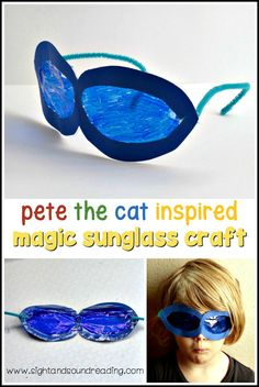 This fun craft lets kids create their own set of Pete the Cat magical sunglasses craft based on Pete the Cat and His Magical Sunglasses. via @sightsoundread