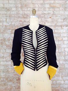 Rifat Ozbek Spring/Summer 1988 vintage military cadet ivory bone jacket made in Italy Iconic! Rare!