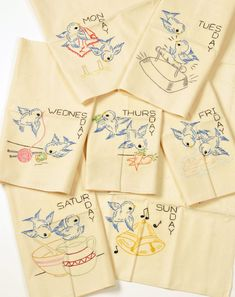Days of the Week Set of 7 Vintage Tea Towels Blue Birds... 50.00, via Etsy.