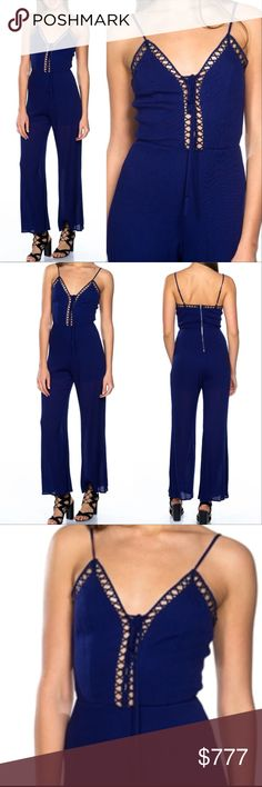"""""""BOHO BEAUTY"""" LATTICE DETAILED JUMPSUIT BRAND NEW  BOUTIQUE ITEM  PRICE IS FIRM  This stunning blue jumpsuit features: Sleeveless, cage inspired lattice detail at the neckline, adjustable spaghetti strap, partial lining and front lace-up detail. just grab your favorite jewelry and heels and you are ready for the day! this jumpsuit is perfect for the season! **also available in olive green**  Model is 5'9"""" and wearing a Small (Waist 26"""", Bust 34A"""", Hips 37"""") ... Pants Jumpsuits & Rompers"""