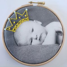 Baby child embroidered photo hoop art by DitzAndBobs on Etsy Embroidery Hoop Art, Embroidery Patterns, Sewing Art, Sewing Crafts, Diy Broderie, Cotton Anniversary Gifts, Expressive Art, New Baby Gifts, Textile Art