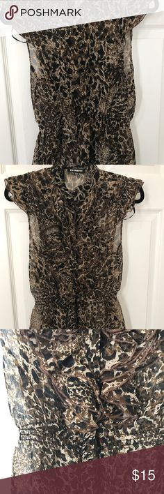 Sheer leopard print sleeveless blouse! Leopard print Sheer  Button down Sleeveless Clinched waist Ruffles on chest area Tops Blouses