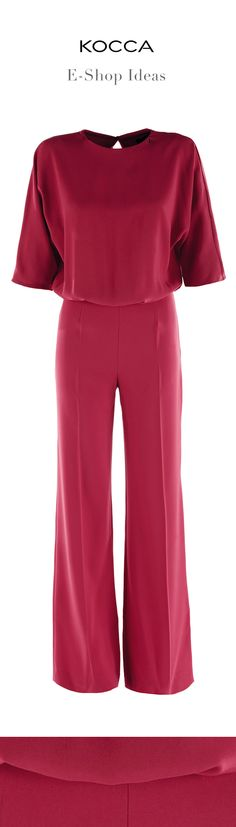 The #jumpsuite Togano, #ruby #red, 3/4 large sleeve and a bell-bottom pants perfect for #chic and important evenings.  #Kocca #style #fashion #moda #look #Kwomen #FW15 #AI15 #Fwcollection1516