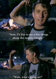 "Emilio Estevez and Tom Cruise. This is totally me, ""Wait, what's going on? The Outsiders Two Bit, The Outsiders Steve, The Outsiders Greasers, The Outsiders 1983, Outsiders Tv, 80s Movies, Good Movies, Awesome Movies, The Outsiders Imagines"