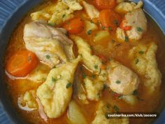 Pileci paprikas sa noklicama /chicken meat, potatoes, paprika, carrots, noddles - winter bliss and as every mother knows best remedy for cold. Albanian Recipes, Bosnian Recipes, Kitchen Recipes, Cooking Recipes, Croation Recipes, Great Recipes, Dinner Recipes, Pillsbury Recipes, Mediterranean Recipes