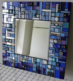 Glass Mosaic Abstract Blue Wall Mirror