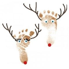 I just love this idea of making his or her reindeer from foot prints. It's soo cute.       Materials:      white paper    brow paint and ...