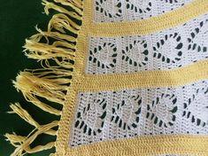vintage yellow, white HEART PRINT Crochet Fringe AFGHAN hand knit blanket handmade vintage blanket throw boho hippie home decor afghan Crochet Fringe, Hand Crochet, Hand Knitting, Crochet Top, Hand Knit Blanket, Knitted Blankets, Afghan Blanket, Vintage Blanket, Hippie Home Decor